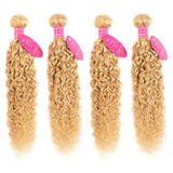 613 Blonde water Wave 4 Bundles with 13x4 Frontal with transparent lace