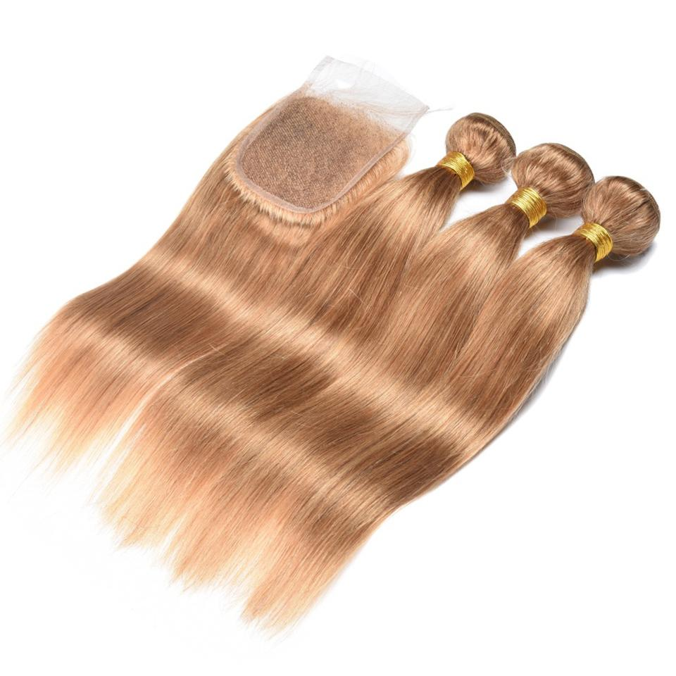 #27 light Brown Straight Hair 4 Bundles With 4x4 Lace Closure Pre Colored human hair