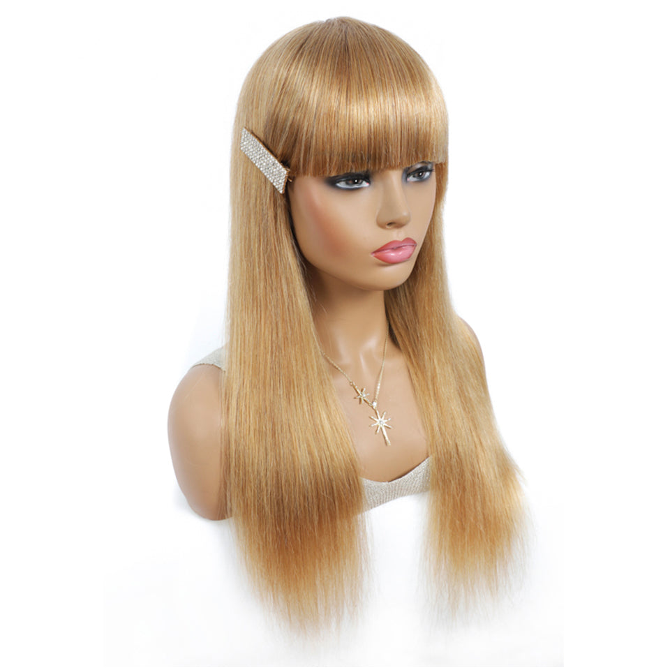 Straight Hair #27 light brown Machine Made None Lace Wig With Bangs 8-24 Inches Virgin Hair