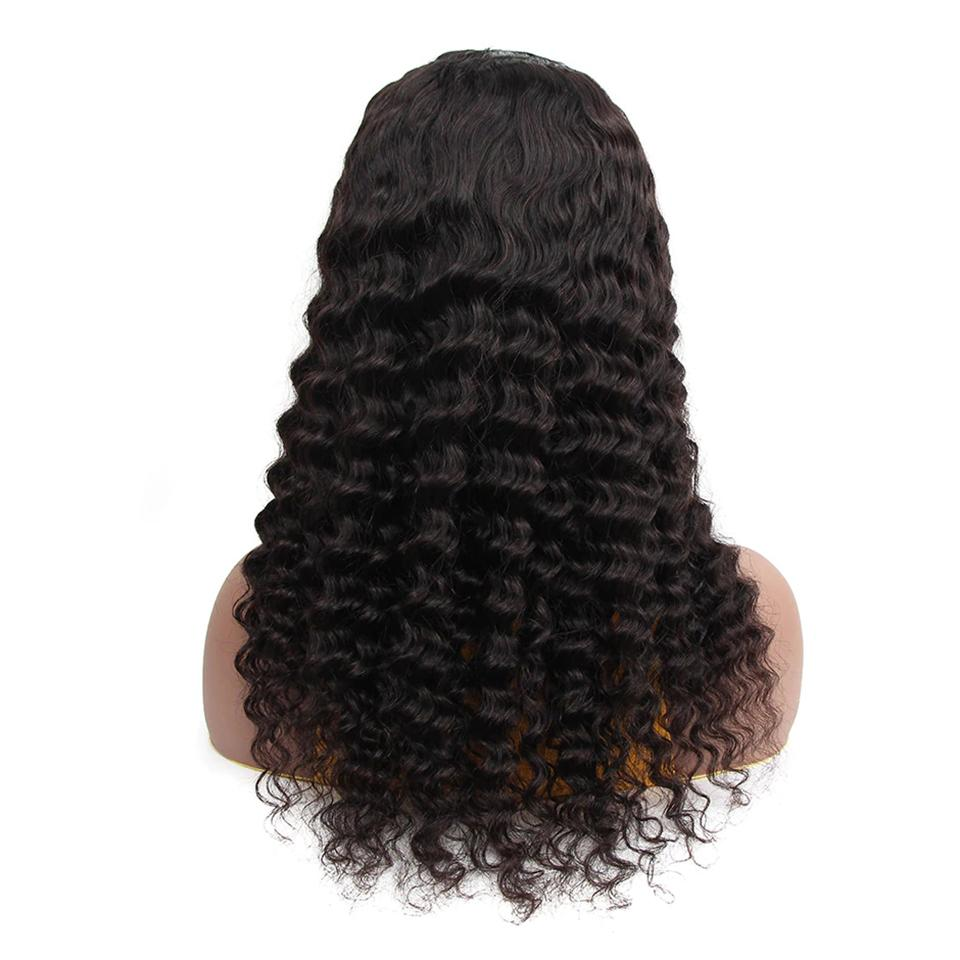 U Part Wig Loose Deep Glueless Human Hair Wigs Natural Black Brazilian Virgin Hair