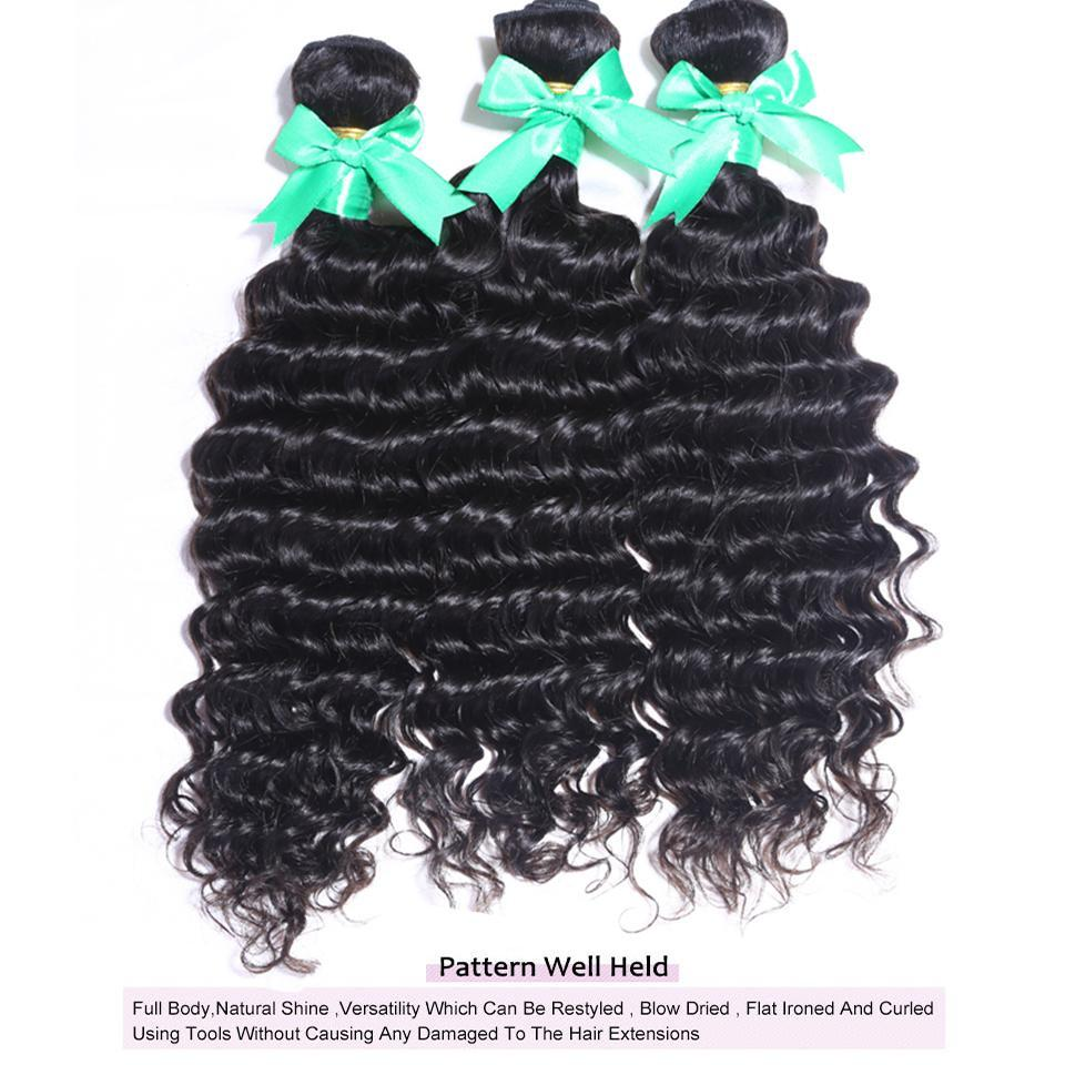 lumiere Indian Deep Wave Virgin Hair 4 Bundles with 4X4 Lace Closure