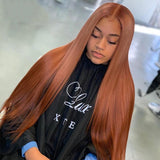 lumiere Straight lace closure & frontal wigs #33 colored human hair wigs pre-plucked with baby hair