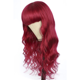 Lumiere BURG Body Wave Full Machine Made None Lace Front Wigs With Bangs 8-24 Inches Virgin Human Hair Wigs