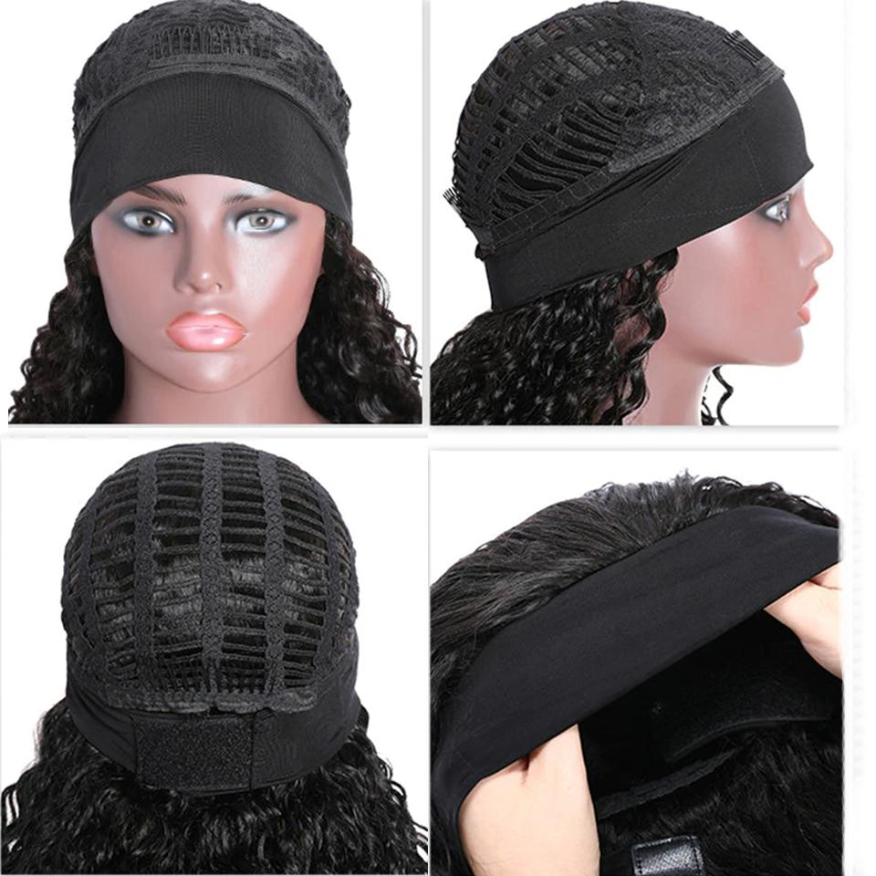 deep wave Headband Wig for African American Natural Color Machine Made Non-Lace Wigs head bands