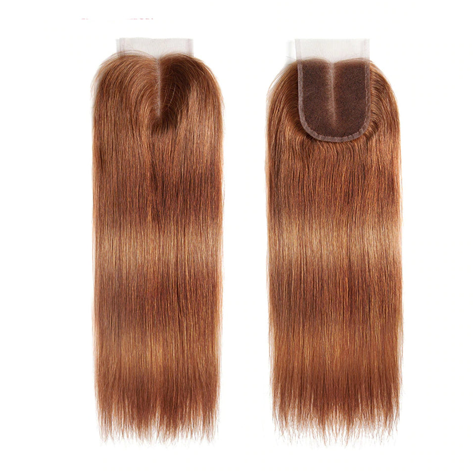lumiere color #30 Straight Hair 3 Bundles With Closure 4x4 pre Colored 100% virgin human hair