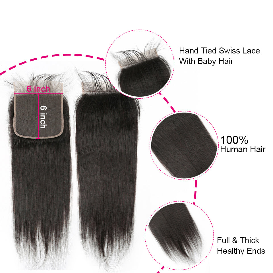 Straight 3 Bundles With Closure 5x5 6x6 lace 100% virgin human hair
