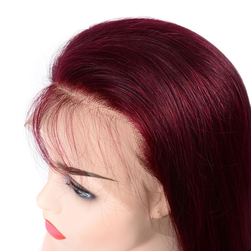 lumiere BURG Straight lace frontal wigs red color virgin human hair with baby hair 150% Density