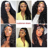 Lumiere Headband Wig Water Wave Human Hair Wig 150% density Hair Band No Glue Real Hairline