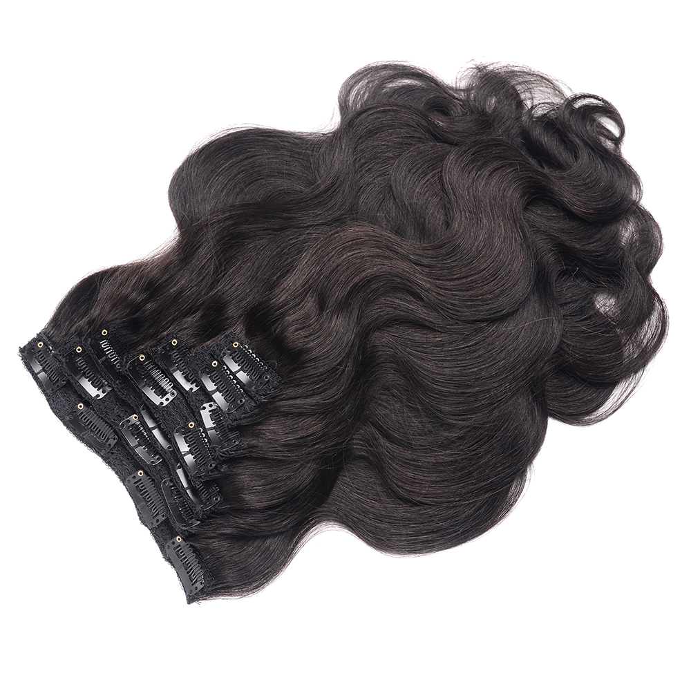 Lumiere Hair Body Wave Clip In Human Hair Extensions Natural Color 8 Pieces/Set Full Head Sets 120G Ship Free