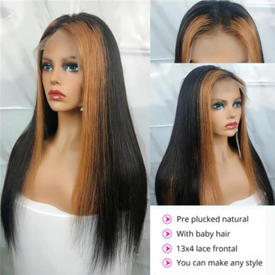 lumiere 13x4 Lace Front Wig Straight hair Strawberry Honey Blonde Highlights Natural Hairline