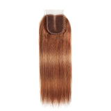 color #30 Straight Hair 3 Bundles With Closure 4x4 pre Colored 100% virgin human hair