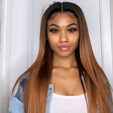 1B/27 Ombre Straight Hair 3 Bundles With 13x4 Lace Frontal Pre Colored Ear To Ear