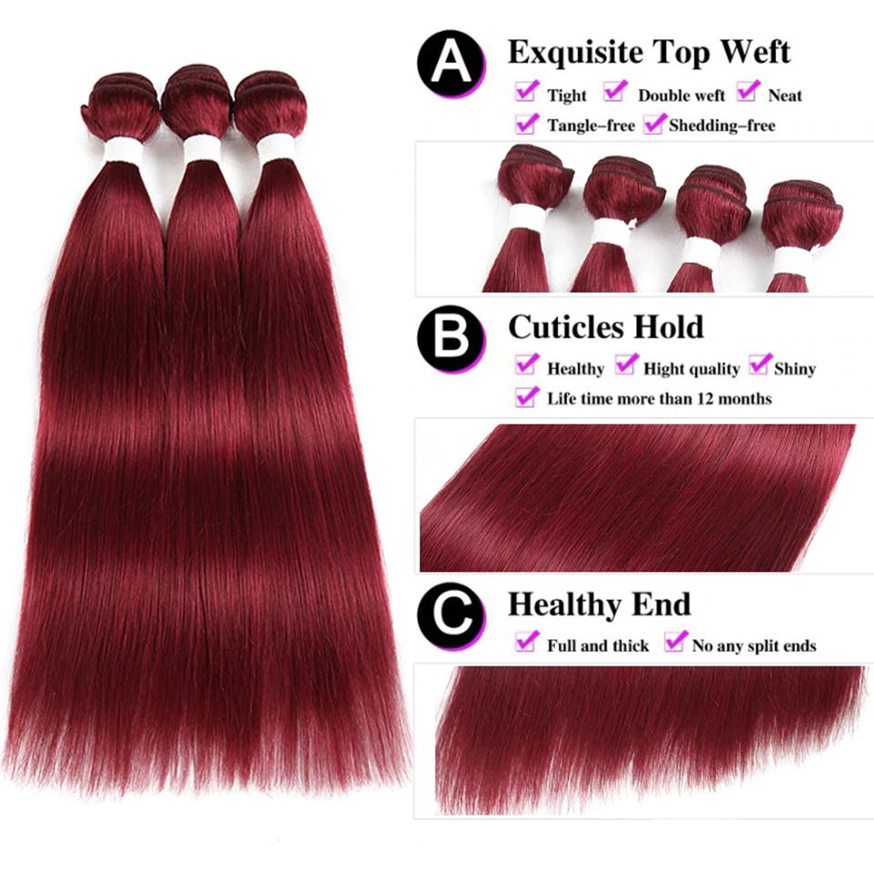 burg straight hair 3 Bundles With 13x4 Lace Frontal Pre Colored Ear To Ear