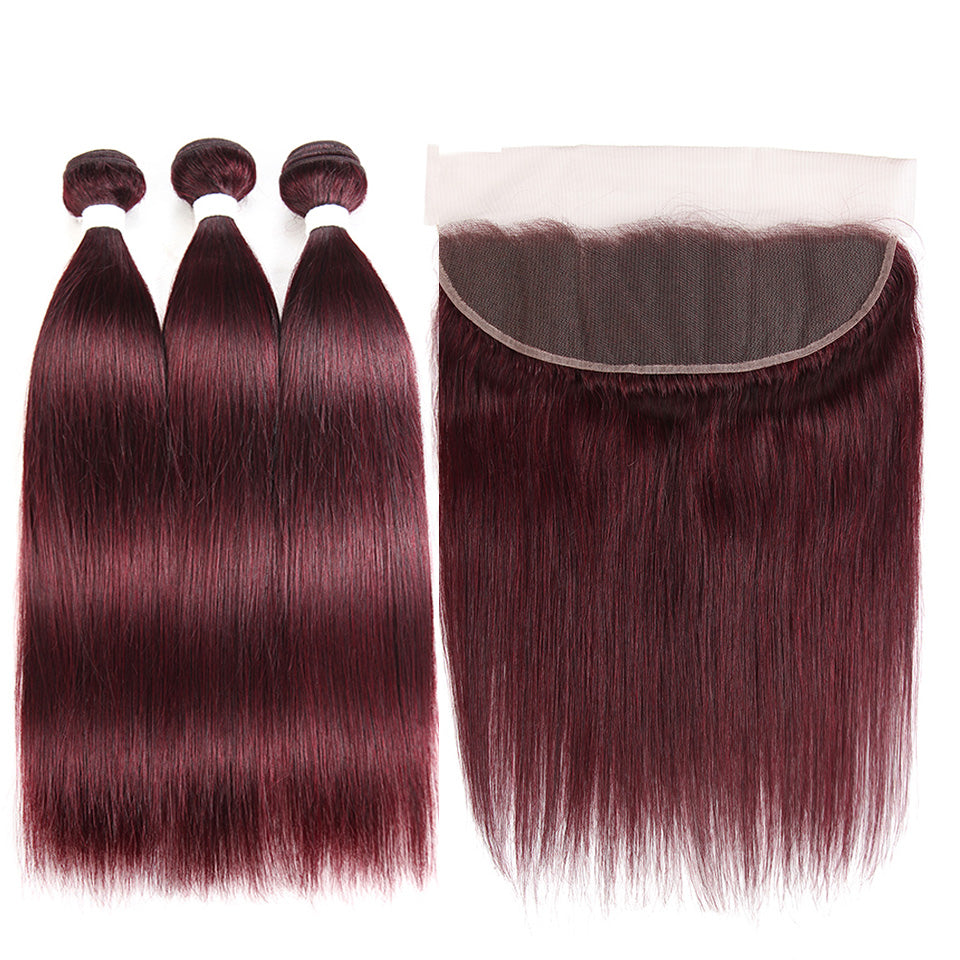 lumiere color 99j straight hair 3 Bundles With 13x4 Lace Frontal Pre Colored Ear To Ear