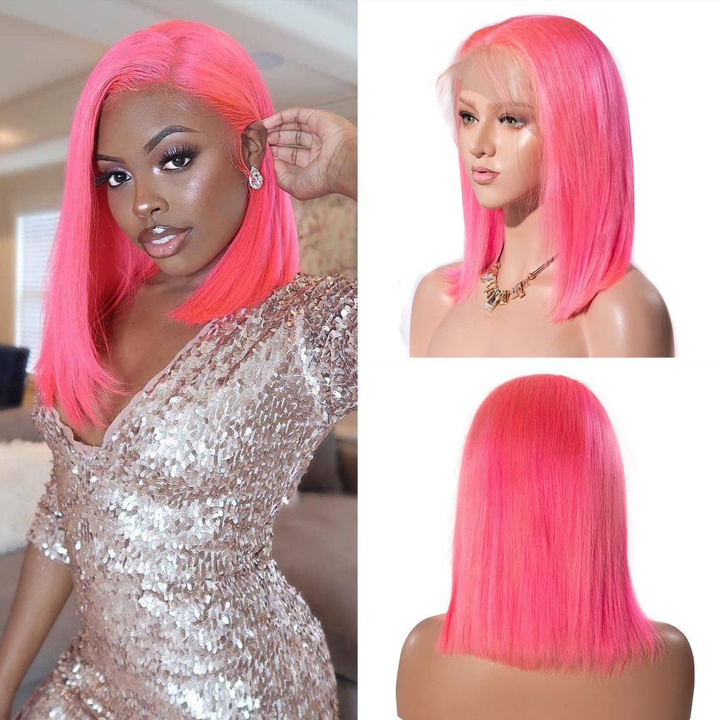 150% Density Pink Short Bob 13x4 Lace Front Straight Human Hair Wigs Transparent Lace