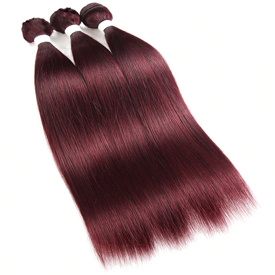 Color 99j Straight Hair Weave 4 Bundles 100% Virgin Human Hair Extension