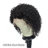 Kinky Curly Short Bob 4x4x1 T Part Lace Front Human Hair Wigs Pre-plucked with Baby Hair
