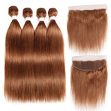 lumiere Color #30 straight hair 4 Bundles With 13x4 Lace Frontal Pre Colored Ear To Ear