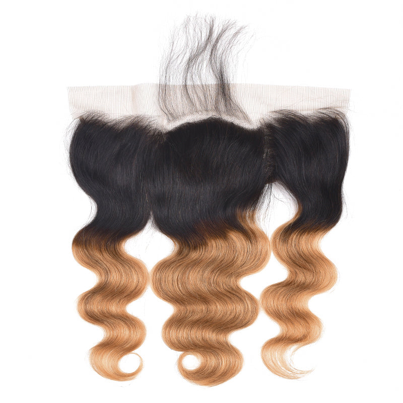 1B/27 Ombre Body Wave 4 Bundles With 13x4 Lace Frontal Pre Colored Ear To Ear