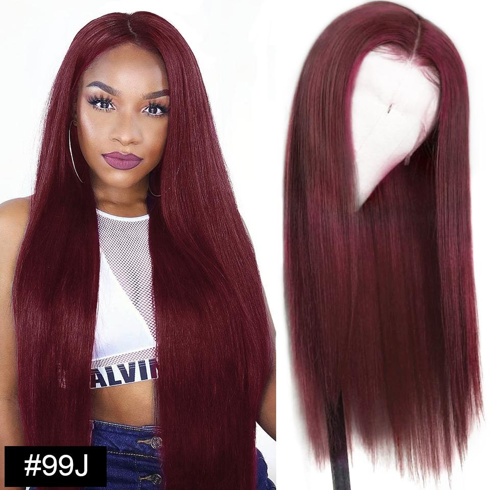 lumiere 99J Straight lace closure & frontal red color virgin human hair wigs