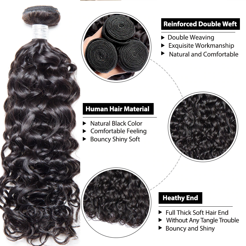 lumiere Peruvian Loose Deep Wave Virgin Hair 3 Bundles with 13*4 Lace Frontal