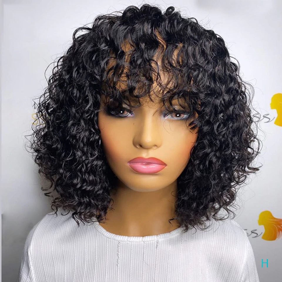 12 Inch Short Cut Pixie Jerry Curly Wig Natural Color For Black Women Full Machine Made Wigs With Bangs