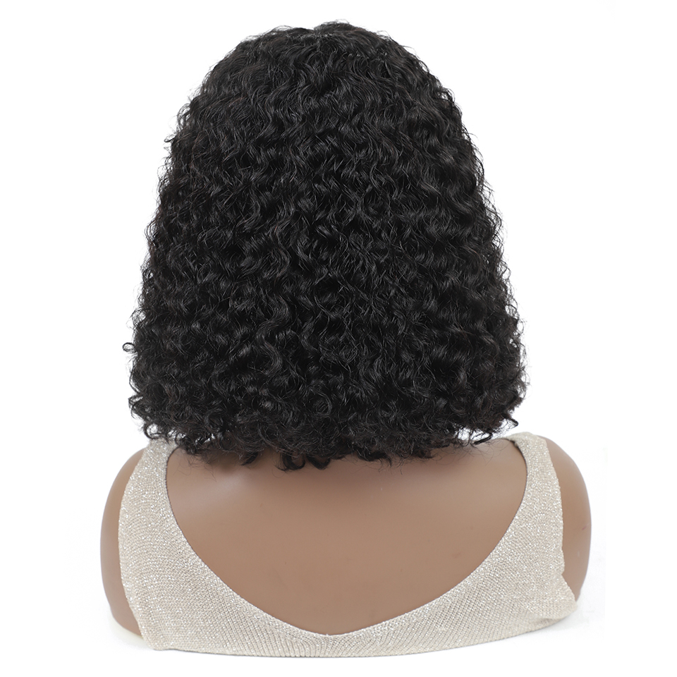 Lumiere Kinky Curly Bob Full Machine Made None Lace Front Wigs With Bangs For Women 8-16 Inches Virgin Human Hair Wigs