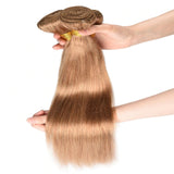 Color #27 light Brown Straight Hair Weave 4 Bundles 100% Virgin Human Hair Extension