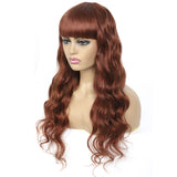 Lumiere #33 Body Wave Full Machine Made None Lace Front Wigs With Bangs 8-24 Inches Virgin Human Hair Wigs