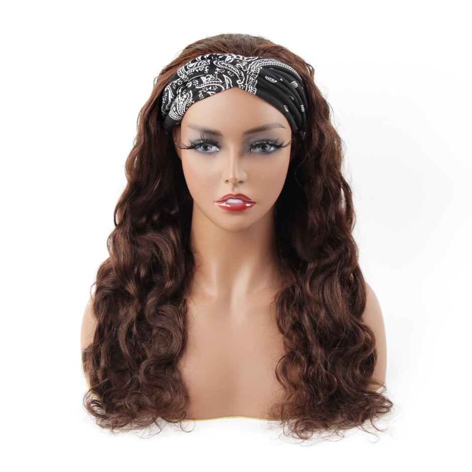 #4 Body Wave Headband Human Hair Wigs Full Machine Made None Lace Wig
