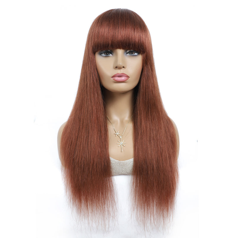 Lumiere Straight Hair #33 ginger Full Machine Made None Lace Front Wigs With Bangs 8-24 Inches Virgin Human Hair Wigs