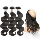 Lumiere malaysian Virgin Hair body Wave 3 Bundles With 360 Lace frontal