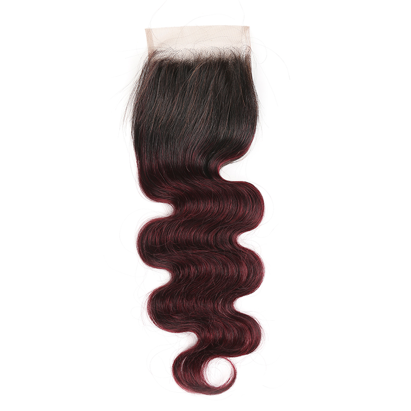 lumiere One Piece 1B/99J Ombre Body Wave Virgin Human Hair 4x4 Lace Closure