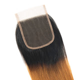 lumiere 1B/30 Ombre Straight Hair 4 Bundles With 4x4 Lace Closure Pre Colored human hair