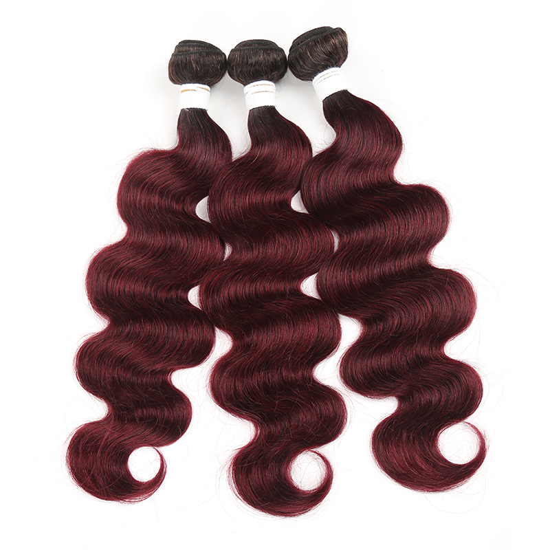 1B/99J Ombre Body Wave 3 Bundles 100% Virgin Human Hair Extension