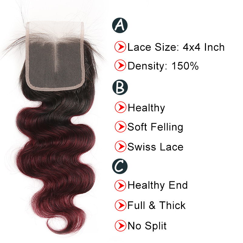 Ombre 1B/99J Body Wave 3 Bundles With Closure 4x4 pre Colored 100% virgin human hair