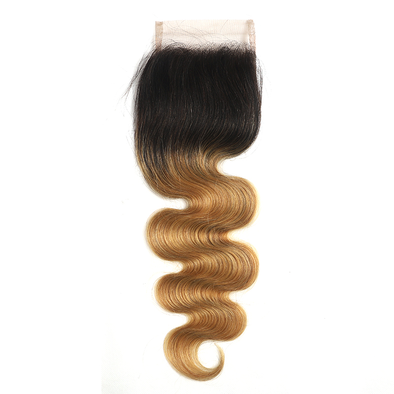 Ombre 1B/27 Body Wave 3 Bundles With Closure pre Colored 100% virgin hair