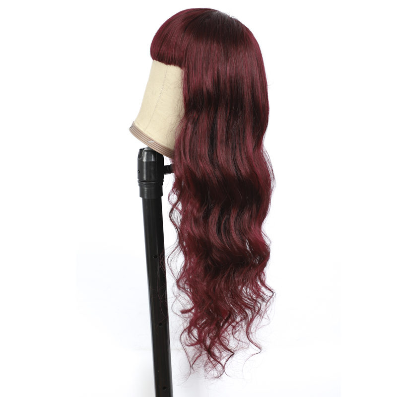 Lumiere 99J Body Wave Full Machine Made None Lace Front Wigs With Bangs 8-24 Inches Virgin Human Hair Wigs