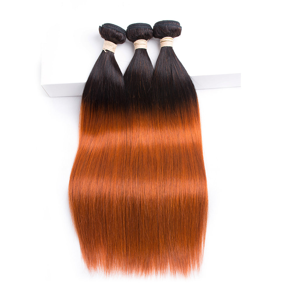 lumiere 1B/350 Ombre Straight 3 Bundles 100% Virgin Human Hair Extension