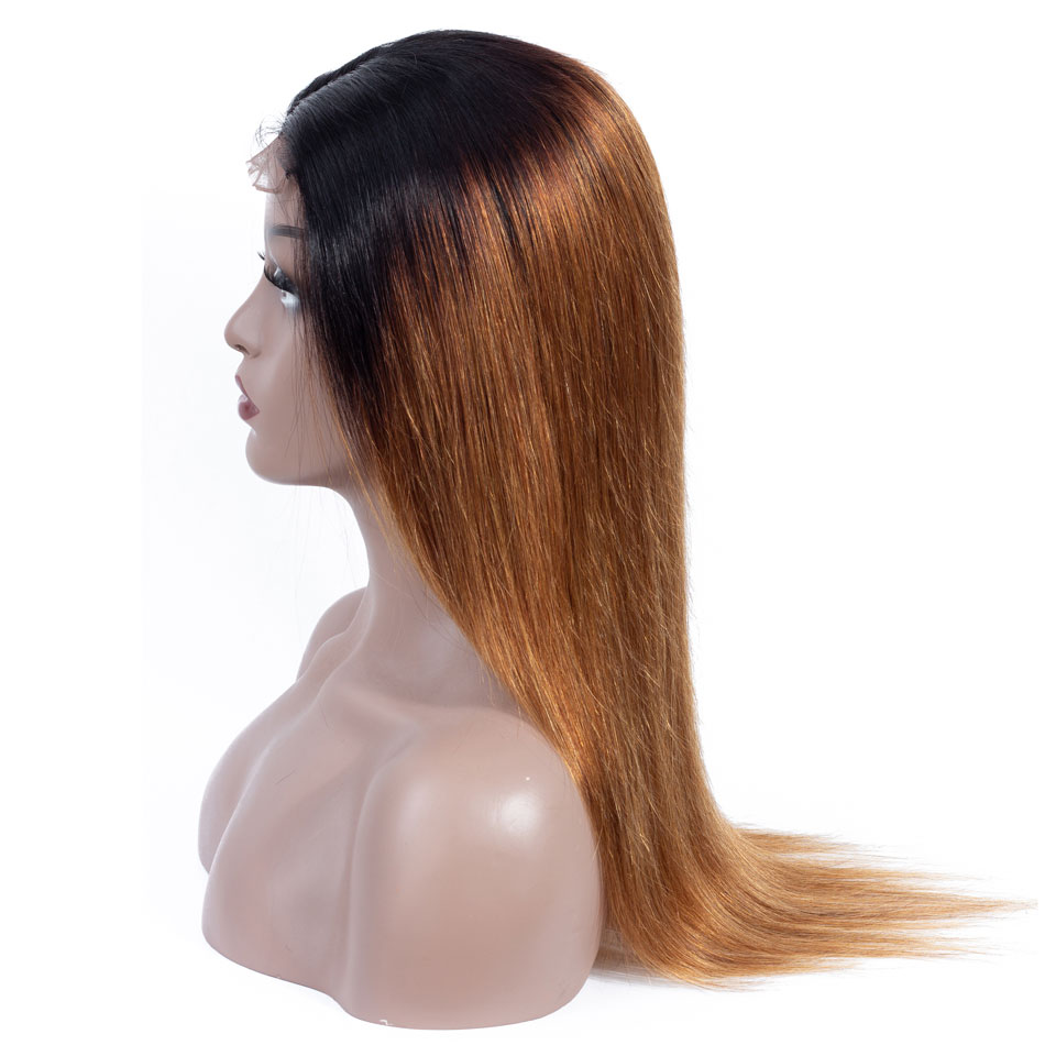 lumiere 1B/30 Ombre Straight 4x4 lace closure wigs virgin human hair with baby hair