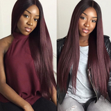 1B/99J Ombre Straight Hair 4 Bundles With 4x4 Lace Closure Pre Colored human hair