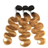1B/27 Ombre Body Wave 4 Bundles With 4x4 Lace Closure Pre Colored human hair
