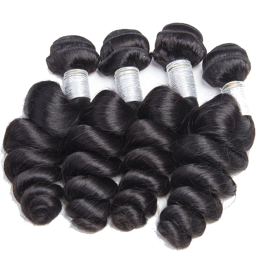 Loose Wave 4 Bundles With Closure 5x5 6x6 lace 100% virgin human hair