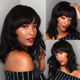 Body Wave Bob Full Machine Made None Lace Front Wigs With Bangs For Women