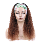 #4 Kinky Curly Headband Human Hair Wigs Full Machine Made Wig None Lace