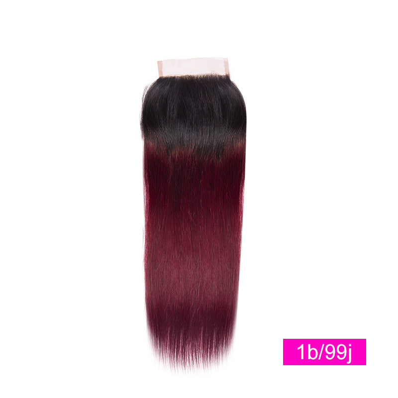 lumiere Hair One Piece 1B/99J Ombre Straight Virgin Human Hair 4x4 Lace Closure