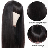Straight Full Machine Made None Lace Front Wigs With Bangs For Women 8-24 Inches