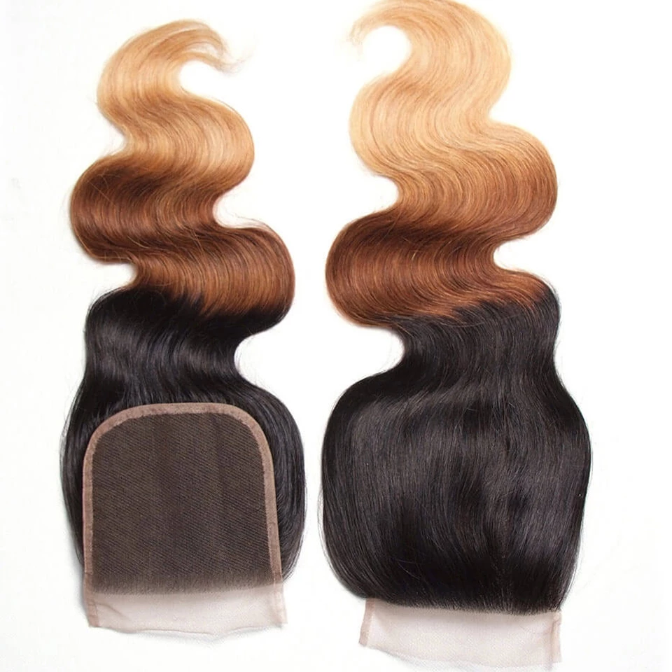 lumiere Brazilian Ombre Body Wave 3 Bundles with 4X4 Closure Human Hair Free Shipping