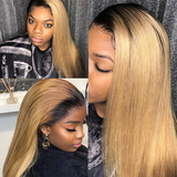1B/27 Ombre Straight Hair 4 Bundles With 4x4 Lace Closure Pre Colored human hair