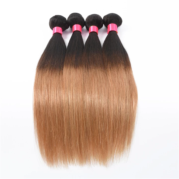 lumiere Hair Peruvian Ombre Straight 4 Bundles with 4X4 Closure Human Hair Free Shipping